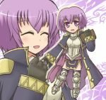 1girl armor armored_boots armored_dress book breastplate catalina chibi cloak closed_eyes fire_emblem fire_emblem:_kakusei fire_emblem:_shin_monshou_no_nazo holding holding_book multiple_views projected_inset purple_background purple_hair reverse_(bluefencer) short_hair smile thigh-highs violet_eyes