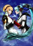 2girls aegis aegis_(persona) android blonde_hair blue_hair highres labrys long_hair multiple_girls persona persona_3 persona_4 persona_4:_the_ultimate_in_mayonaka_arena ponytail red_eyes short_hair smile yuu_(primenumber7)