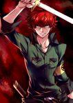dual_wielding minazuki_sho persona persona_4 persona_4:_the_ultimate_in_mayonaka_arena redhead scar smile sword weapon yasshan