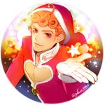 1boy blonde_hair brown_eyes gift giorno_giovanna glenn343434 gloves hat jojo_no_kimyou_na_bouken outstretched_hand s_a_k_u santa_costume santa_hat solo twitter_username yellow_eyes