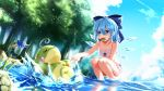 2girls bikini blue_eyes blue_hair bow character_request cirno clouds daiyousei drying_clothes food food_in_mouth green_hair hair_bow highres ice_cream multiple_girls pokemon pokemon_(creature) politoed short_hair sky sleeping squatting summer swimsuit tendo_(zhazhatiantong) touhou tree water wet