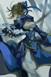 1girl ahoge blonde_hair blue_eyes dress fate/stay_night fate_(series) gauntlets hair_ribbon highres ribbon saber solo wttwj
