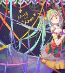 1girl antlers christmas gloves green_eyes green_hair hair_ornament hair_ribbon half_gloves hatsune_miku head_tilt highres looking_at_viewer mame_(yangqi787) merry_christmas red_nose ribbon smile solo tagme vocaloid