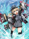 >:d 1girl :d anchor_hair_ornament black_skirt blonde_hair blue_eyes gloves hair_ornament hat kantai_collection kneehighs leg_up long_hair long_sleeves machinery magu_(mugsfc) microskirt military military_uniform open_mouth peaked_cap pleated_skirt prinz_eugen_(kantai_collection) skirt smile solo turret twintails uniform water white_gloves
