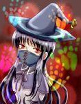 1girl akemi_homura ayukazu black_hair face_mask hat highres homulilly long_hair looking_at_viewer magical_girl mahou_shoujo_madoka_magica mahou_shoujo_madoka_magica_movie mask red_eyes spoilers witch_(madoka_magica) witch_hat