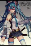 1girl animal_ears aqua_eyes aqua_hair detached_sleeves happy_birthday hatsune_miku jiaoshouxingfa katana letterboxed long_hair necktie skirt snorkel solo sword thigh-highs twintails very_long_hair vocaloid weapon zettai_ryouiki