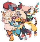 1girl ampharos arcanine black_legwear blue_eyes brown_hair double_bun glomp hug long_hair lucario maruco mei_(pokemon) open_mouth pantyhose pokemon pokemon_(creature) pokemon_(game) pokemon_bw2 raglan_sleeves shorts sigilyph twintails very_long_hair visor_cap white_background zoroark