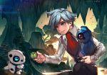 1boy aron artist_name ascot beldum berries blue_eyes kawacy nature pokemon pokemon_(creature) pokemon_(game) pokemon_oras short_hair silver_hair smile squatting stalactite tsuwabuki_daigo vest