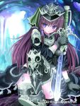 1girl arm_support armor black_gloves black_legwear blue_eyes blush brown_hair cave givuchoko gloves greaves hat long_hair looking_at_viewer original sitting solo sword thigh-highs weapon