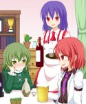 :d alcohol arm_support beer blue_hair blush cactus curtains fenikkusu_takahashi green_eyes green_hair hat hat_removed headwear_removed horikawa_raiko nagae_iku no_hat open_mouth plant potted_plant power_connection red_eyes redhead short_hair smile soga_no_tojiko touhou