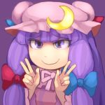 1girl blue_bow bow crescent crescent_moon double_v hat highres hospital_king long_hair long_sleeves mob_cap moon patchouli_knowledge pink_ribbon purple_background purple_hair red_bow ribbon smile solo touhou v violet_eyes