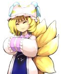1girl :3 animal_ears blonde_hair blush closed_eyes dress fox_ears fox_tail frills hands_together hat highres hospital_king long_sleeves mob_cap multiple_tails short_hair sleeves_past_wrists smile solo tabard tail touhou white_dress yakumo_ran