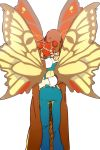1girl blonde_hair braid butterfly_wings double_bun father_and_daughter hat hug jojo_no_kimyou_na_bouken kuujou_jolyne kuujou_joutarou multicolored_hair redhead two-tone_hair wings xxxceller