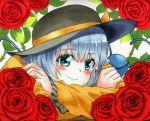 1girl aqua_eyes blouse blush bust flower green_hair hat hat_ribbon komeiji_koishi long_sleeves looking_at_viewer ribbon rose shiratama_(hockey) shirt short_hair smile solo string third_eye touhou traditional_media