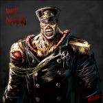 <ro 1boy admiral_(kantai_collection) alternate_costume character_name crossover exposed_muscle hat kantai_collection military military_uniform naval_uniform nemesis peaked_cap resident_evil signature teeth uniform