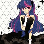1girl dress formal gloves hair_ribbon humanization long_hair multicolored_hair my_little_pony my_little_pony_friendship_is_magic pasikon ribbon twilight_sparkle