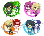 2boys 2girls arquiusprite bare_shoulders black_hair black_lipstick blonde_hair blue_eyes boots buck_teeth chibi dirk_strider dress dual_wielding erisolsprite fangs fefetasprite glasses green_eyes homestuck horns jake_english jane_crocker lipstick long_hair makeup mohawk multiple_boys multiple_girls open_mouth oversized_clothes pink_eyes roxy_lalonde short_hair smile spoilers sunglasses sword tank_top tavrisprite weapon ximsol182