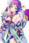 big_breast blush fan flower green_eyes hair_band long_hair love_live!_school_idol_project ribbo ribbon smile toujou_nozomi twintails violet_hair yukata