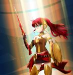 1girl armlet armor bare_shoulders belt black_gloves breastplate breasts buckle cleavage corset elbow_gloves forehead_protector gloves gorget greaves green_eyes helpyourselfish highres jewelry light_particles light_rays long_hair medallion neck_ring ponytail pyrrha_nikos redhead rwby sarong serious shield skirt solo spotlight sword weapon
