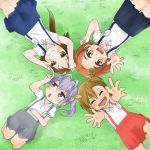 4girls barakamon brown_hair closed_eyes crossover from_above idolmaster idolmaster_cinderella_girls kazuya_lolicon kotoishi_naru long_hair mikakunin_de_shinkoukei mitsumine_mashiro miyauchi_renge multiple_girls non_non_biyori purple_hair red_eyes ryuuzaki_kaoru school_uniform short_hair side_ponytail twintails yellow_eyes