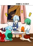 3girls ahoge barefoot bat_wings blue_eyes blue_hair braid bulbasaur charmander climbing cookie cup dress food giratina highres izayoi_sakuya kazami_yuuka mattari_yufi multiple_girls pink_dress plate pokemon pokemon_(creature) remilia_scarlet sash shirt silver_hair sitting skirt sleeping squirtle table teacup touhou translated twin_braids unmoving_pattern vest wariza window wings zzz
