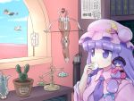 3girls bird blue_sky bookshelf bow_(weapon) bowl cactus clouds crossbow dragon_quest eating hair_ribbon hat hat_ribbon hug japanese_clothes kimono koakuma minigirl multiple_girls obi patchouli_knowledge puffy_short_sleeves puffy_sleeves ribbon sash scales shameimaru_aya shirosato shirt short_sleeves skirt sky slime_(dragon_quest) sukuna_shinmyoumaru teapot tokin_hat touhou tress_ribbon violet_eyes weapon window