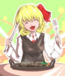 1girl :d ^_^ blonde_hair closed_eyes food fork fuyuno_(kiddyland) hair_ribbon knife meat open_mouth plate ribbon rumia short_hair smile steak steam touhou