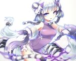 1girl bare_shoulders blue_eyes blush bow braid cat_hair_ornament china_dress chinese_clothes claws dress hair_ornament haku_(p&d) long_hair merlusa multicolored_hair open_mouth purple_bow purple_dress purple_hair puzzle_&_dragons simple_background sleeveless sleeveless_dress solo tail tiger_tail twin_braids two-tone_hair white_background white_hair yin_yang
