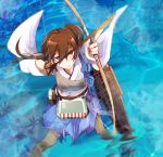 1girl aiming brown_hair commentary_request drawing_bow failure highres japanese_clothes kaga_(kantai_collection) kantai_collection long_hair multiple_girls pleated_skirt short_hair side_ponytail skirt solo yakusuke you're_doing_it_wrong