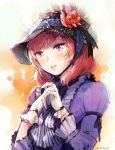 1girl alternate_costume bunny_shake dress gloves hands_together light_smile long_sleeves looking_at_viewer love_live!_school_idol_project nishikino_maki puffy_long_sleeves puffy_sleeves purple_dress redhead removing_glove short_hair tareme victorian violet_eyes white_gloves