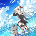 1girl :d amatsukaze_(kantai_collection) black_panties blush brown_eyes garter_straps kantai_collection long_hair ocean open_mouth panties rensouhou-kun school_uniform serafuku silver_hair smile solo striped striped_legwear thigh-highs two_side_up underwear yunkel_(zeijaku_mental)