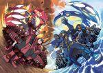 6+boys 6+girls absurdres anchor aogiri_(pokemon) aogiri_(pokemon)_(remake) bandana beard black_hair blue_eyes blue_hair boots claws closed_eyes crop_top debris facial_hair glasses gloves grin groudon hand_on_knee heart high_heels highres homura_(pokemon) homura_(pokemon)_(remake) huge_filesize izumi_(pokemon) izumi_(pokemon)_(remake) jewelry kagari_(pokemon) kagari_(pokemon)_(remake) kyogre lips lipstick long_hair makeup matsubusa_(pokemon) matsubusa_(pokemon)_(remake) midriff molten_rock monster multicolored_hair multiple_boys multiple_girls necklace ocean official_art oomura_yuusuke pokemon pokemon_(creature) pokemon_(game) pokemon_oras primal_groudon primal_kyogre purple_hair redhead sharp_teeth shirt short_hair smile smoke spikes splashing striped striped_legwear striped_shirt team_aqua team_aqua_grunt team_magma team_magma_grunt uniform ushio_(pokemon) violet_eyes water
