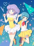 2girls :d antenna_hair blue_eyes blue_hair brown_eyes casual creamy_mami dual_persona holding hooded_sweater jewelry long_hair looking_at_viewer mahou_no_tenshi_creamy_mami microphone moai_(aoh) morisawa_yuu multiple_girls open_mouth pendant pleated_skirt purple_hair short_hair skirt smile