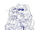 3girls :3 ahoge blush closed_eyes comic crossed_legs girl_sandwich hand_on_another's_head heart heart_ahoge hoshii_miki idolmaster long_hair monochrome multiple_girls petting sandwiched shijou_takane shisoworld silent_comic smile sunglasses takatsuki_yayoi