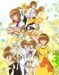 ^_^ arms_behind_back blonde_hair blush brown_eyes brown_hair child closed_eyes cure_sunshine cure_sunshine_mirage dark_persona dress heartcatch_precure! highres holding_hands long_hair looking_at_viewer magical_girl midriff multiple_girls multiple_persona myoudouin_itsuki navel one_eye_closed open_mouth potpourri_(heartcatch_precure!) precure profile school_uniform short_hair skirt smile stuffed_animal stuffed_toy super_silhouette_(heartcatch_precure!) teddy_bear twintails yellow_eyes yukkyun