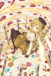 1girl :d blonde_hair cup drill_hair fingerless_gloves from_above gloves gun hat holding looking_at_viewer mahou_shoujo_madoka_magica moai_(aoh) no_panties open_mouth rifle smile solo striped striped_legwear teacup tomoe_mami weapon yellow_eyes