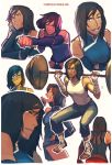 1girl alternate_hair_length alternate_hairstyle ankle_wraps avatar:_the_last_airbender barefoot black_hair blue_eyes caleb_thomas chin_rest collage dark_skin detached_sleeves exercise expressions highres korra legend_of_korra punching short_hair solo tank_top weightlifting weights wrist_wraps