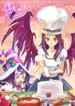 2girls :3 aa2233a blush_stickers bracelet cake cake_batter chef_hat cupcake earrings fairy flask food hat heterochromia icing jewelry kog'maw league_of_legends long_pointy_ears lulu_(league_of_legends) mixing_bowl morgana multiple_girls open_mouth pastry_bag pink_eyes pix pointy_ears potion purple_hair red_eyes rolling_pin smile star star-shaped_pupils symbol-shaped_pupils toque_blanche violet_eyes wings witch_hat yellow_eyes