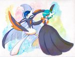 alternate_color arm_blade cape dress fighting_stance gallade gardevoir horns mega_gallade mega_gardevoir mega_pokemon no_humans orange_eyes pokemon pokemon_(game) pokemon_oras pose shige_(19921012) shiny_pokemon spikes traditional_media watercolor_(medium) weapon