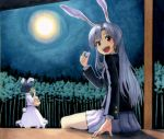 2girls animal_ears bamboo bamboo_forest black_hair bunny_tail dress forest full_moon inaba_tewi jacket long_hair long_sleeves looking_at_viewer marker_(medium) millipen_(medium) moon multiple_girls nature night night_sky open_mouth pleated_skirt puffy_short_sleeves puffy_sleeves rabbit_ears red_eyes reisen_udongein_inaba shiratama_(hockey) shirt short_sleeves silver_hair sitting skirt sky smile tail touhou traditional_media veranda very_long_hair white_dress