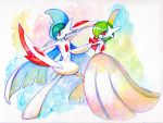 arm_blade cape dress fighting_stance gallade gardevoir horns mega_gallade mega_gardevoir mega_pokemon no_humans pokemon pokemon_(game) pokemon_oras pose red_eyes shige_(19921012) spikes traditional_media watercolor_(medium) weapon
