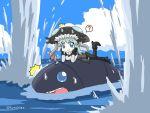 1girl ? blue_eyes blue_hair explosion headgear horten i-class_destroyer kantai_collection long_hair looking_at_viewer lying ocean on_stomach open_mouth shinkaisei-kan smile spoken_question_mark wo-class_aircraft_carrier