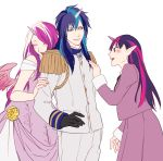 1boy 2girls black_gloves blue_hair brother_and_sister closed_eyes cuddling dress epaulettes gloves horn long_hair multicolored_hair multiple_girls my_little_pony my_little_pony_friendship_is_magic otani_(gloria) pink_hair pointy_ears princess_mi_amore_cadenza purple_hair shining_armor siblings side twilight_sparkle two-tone_hair uniform white_background wings