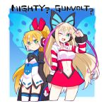 2girls ;) azure_striker_gunvolt blonde_hair blush call_(mighty_no._9) call_f commentary cosplay costume_switch creator_connection crossover english gloves green_eyes hair_ornament headphones headset long_hair long_sleeves lumen_(gunvolt) midriff mighty_no._9 multiple_girls natsume_yuuji navel official_art one_eye_closed open_mouth ponytail salute skirt smile striped_sleeves thigh-highs wide_sleeves
