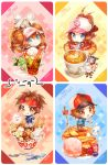 2boys baseball_cap blue_eyes brown_eyes brown_hair character_request chibi coffee cup dessert double_bun food fork hat ice_cream kyouhei_(pokemon) long_hair looking_at_viewer mei_(pokemon) miltank multiple_boys multiple_girls namie-kun pancake pansage pokemon pokemon_(creature) pokemon_(game) pokemon_bw pokemon_bw2 ponytail smile spoon sweets swirlix tea teacup touko_(pokemon) touya_(pokemon) twintails vanillish visor_cap