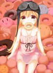 1girl blonde_hair blush brown_eyes clannad cowboy_shot dango dango_daikazoku doughnut dress food goggles goggles_on_head helmet kirby kirby_(series) kue long_hair looking_at_viewer mister_donut monogatari_(series) mouth_hold ninin_ga_shinobuden nisemonogatari onsokumaru oshino_shinobu pink_dress pon_de_lion sitting solo very_long_hair wagashi