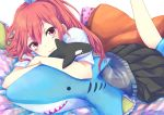 1girl :> blush free! long_hair matsuoka_gou ponytail ramune_(lamtam) red_eyes redhead school_uniform skirt solo stuffed_animal stuffed_shark stuffed_toy stuffed_whale