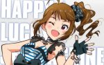 1girl ahoge akizuki_ritchan black_gloves blush bow breasts brown_hair choker cleavage fingerless_gloves gloves highres idolmaster idolmaster_million_live! jewelry long_hair necklace official_style one_eye_closed open_mouth side_ponytail smile solo sweat sweatdrop violet_eyes yokoyama_nao