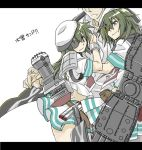 1boy 2girls admiral_(kantai_collection) comic hat hug kai_(akamekogeme) kantai_collection kiso_(kantai_collection) letterboxed long_hair midriff military military_uniform multiple_girls naval_uniform peaked_cap pleated_skirt sandwiched school_uniform serafuku skirt translated uniform