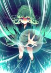 1girl black_dress curly_hair dress floating green_eyes green_hair onepunch_man reia solo tatsumaki